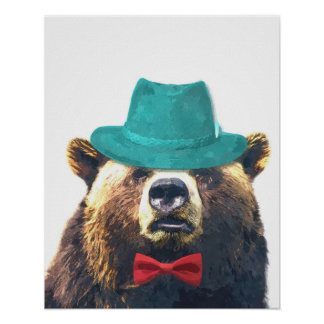 Cute and funny bear animal nursery kids room poster
