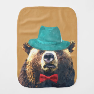 Cute and funny bear woodland animal burp cloth