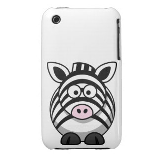 Cute and Funny  Black and White Cartoon Zebra iPhone 3 Covers