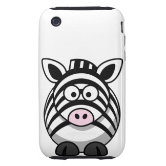 Cute and Funny  Black and White Cartoon Zebra Tough iPhone 3 Covers