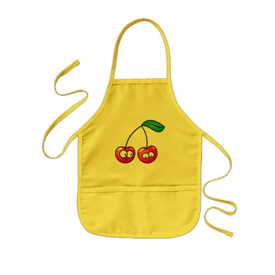 Cute and funny cartoon cherries kids apron
