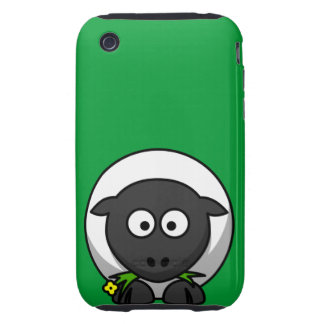 Cute and Funny Cartoon Sheep on Green Background iPhone 3 Tough Covers