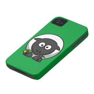 Cute and Funny Cartoon Sheep on Green Background iPhone 4 Cover