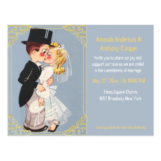 Cute and funny cartoon wedding template postcard