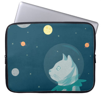 Cute and funny cat in the space illustration laptop sleeve