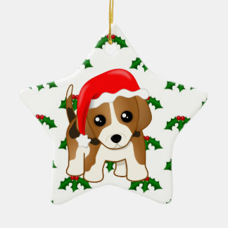 Cute and Funny Christmas Beagle Puppy Dog Cartoon Ceramic Star Decoration