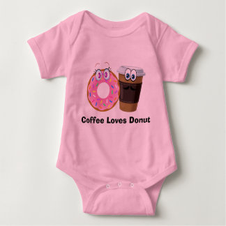 Cute and funny coffee loves donut baby Bodysuit Baby Bodysuit