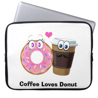 Cute and funny coffee loves donut laptop sleeve