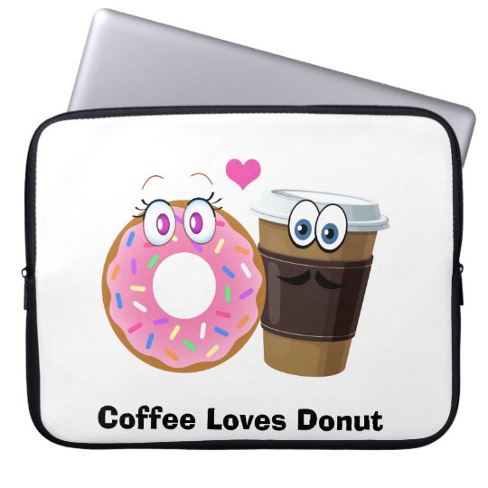 Cute and funny coffee loves doughnut laptop sleeve