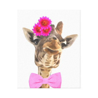 Cute and funny giraffe poster for nursery canvas print