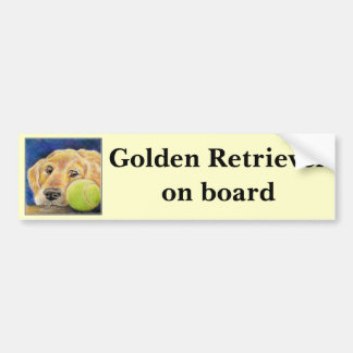 Cute and funny Golden Retriever Bumper Sticker