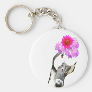 Cute and funny goose farm animal girly key ring