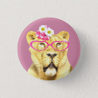 Cute and funny lioness jungle wild animal 3 cm round badge