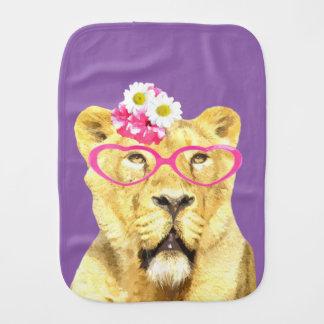Cute and funny lioness jungle wild animal burp cloth