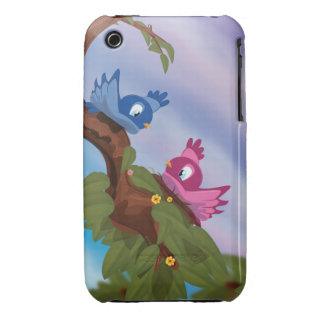 Cute and funny nesting cartoon birds iPhone 3 cover