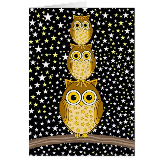 cute and funny owls card