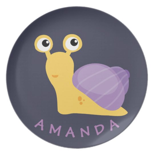 Cute and funny purple snail Personalised Plate