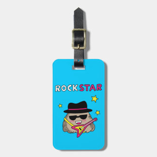 Cute and Funny Rock star with pink guitar Luggage Tag
