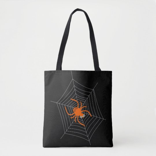 Cute and Funny Spider and Web Halloween Tote