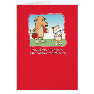 Cute and funny Valentine's Day card: Dog and Cat Greeting Card