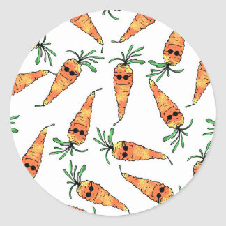 Cute and Funny Watercolor Carrot with Sunglasses Round Sticker