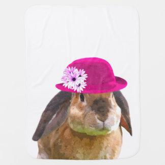 Cute and funny woodland animal rabbit bunny baby blanket