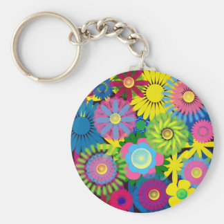 Cute and Girly Brightly Colored Flowers Basic Round Button Key Ring