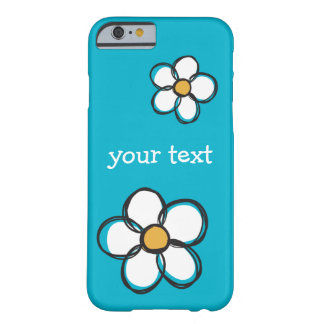 Cute and Girly Doodle Flower Aqua Background A01A Barely There iPhone 6 Case