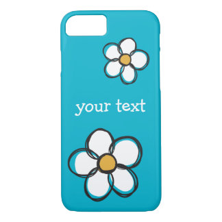 Cute and Girly Doodle Flower Aqua Background A01A iPhone 7 Case