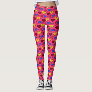 Cute and Girly Hearts Pattern on PINK Leggings