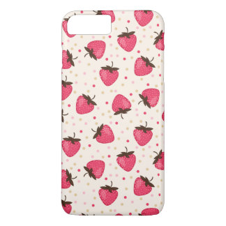 Cute and Girly Pink Strawberries Pattern iPhone 7 Plus Case
