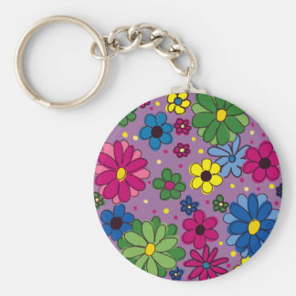 Cute and Girly Purple Floral Basic Round Button Key Ring