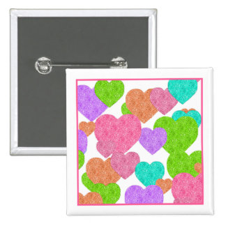 Cute and Girly Rainbow Colored Hearts 2 Inch Square Button