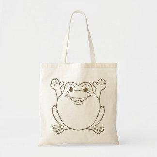 Cute and Happy Cartoon Frog Canvas Tote Bag