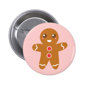 Cute and Happy Christmas gingerbread man Pinback Button
