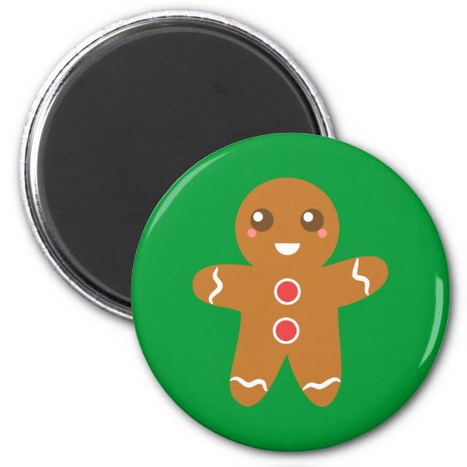 Cute and Happy Christmas gingerbread man Refrigerator Magnet