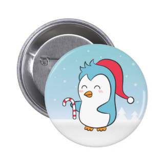 Cute and Happy Christmas Penguin with Candy Cane 6 Cm Round Badge