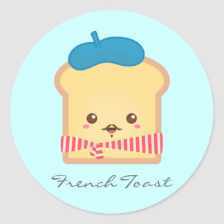 Cute and Happy French toast Classic Round Sticker