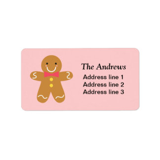 Cute and Happy Gingerbread Man for Christmas Address Label