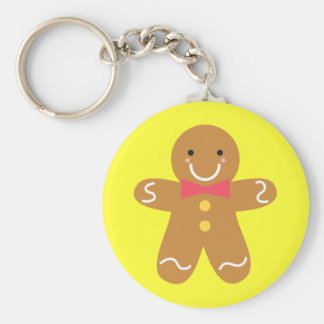 Cute and Happy Gingerbread Man for Christmas Basic Round Button Key Ring