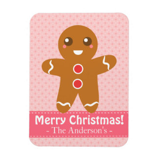 Cute and Happy Gingerbread Man for Christmas Rectangle Magnet