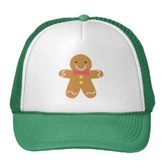 Cute and Happy Gingerbread Man for Christmas Mesh Hat