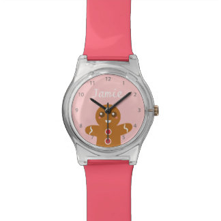 Cute and Happy Gingerbread Man for Christmas Wristwatches