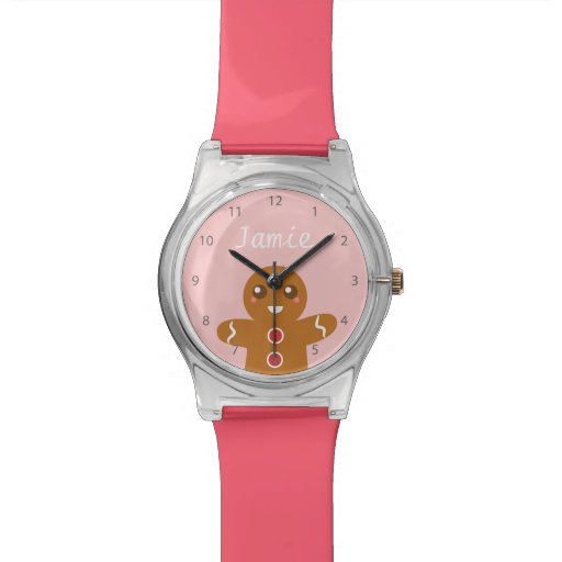 Cute and Happy Gingerbread Man for Christmas Wrist Watches