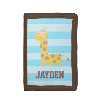 Cute and Happy Giraffe, For Children Tri-fold Wallets