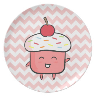 Cute and Happy Pink Cupcake with Cherry Plate