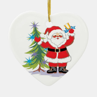 Cute and Happy Santa Claus Ringing a Bell Christmas Ornament