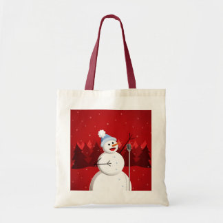 Cute And Happy Singing Snowman Christmas Budget Tote Bag
