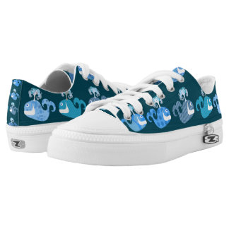 Cute and Happy Whales Printed Shoes