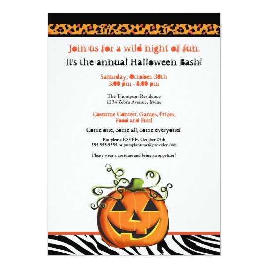 Cute and Hip Animal Print Pumpkin Halloween Card